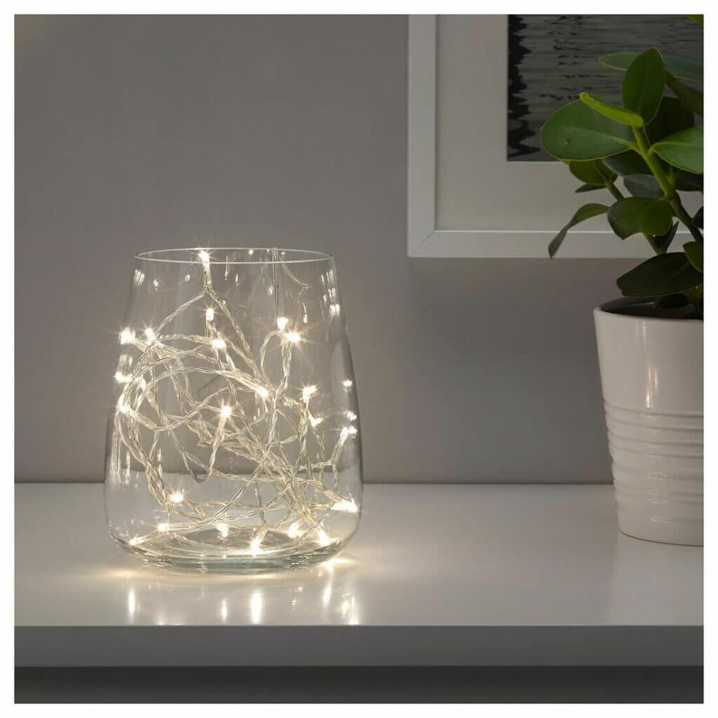 christmas string lights in jar